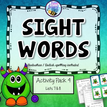 Sight Words Printables, Games and Flashcards Pack 4