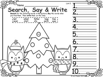 Dolch Words- Christmas Search, Say & Write