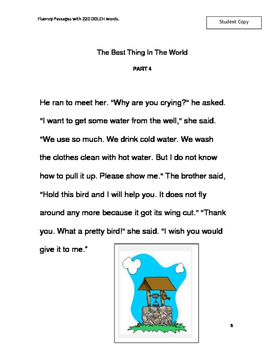 """Dolch Words  FLUENCY PASSAGES """"The Best Thing In The World!"""""""