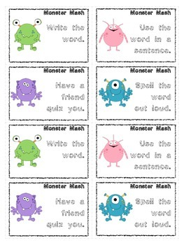 Dolch Words: First Grade Monster Mash Card Game