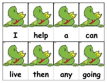 Dolch Words Flashcards - Alligator Peek Over