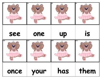 Dolch Words Flashcards - Ballerina Bear