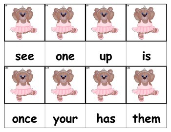 Dolch Words Flashcards - Ballerina Bear