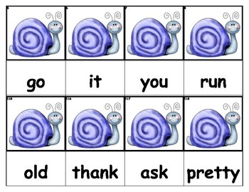 Dolch Words Flashcards - Snail
