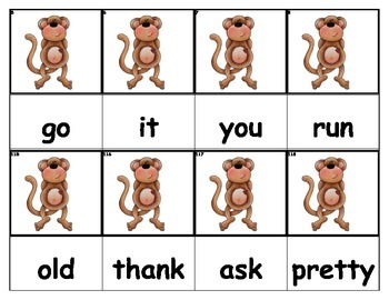 Dolch Words Flashcards - Monkey