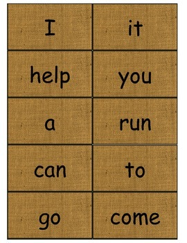 Dolch Words Flashcards: Burlap