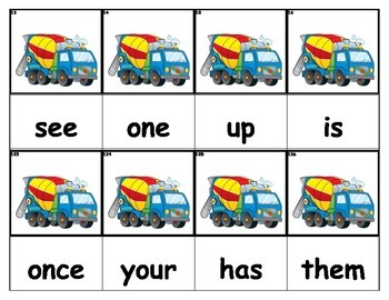 Dolch Words Flashcards - Cement Mixer Truck