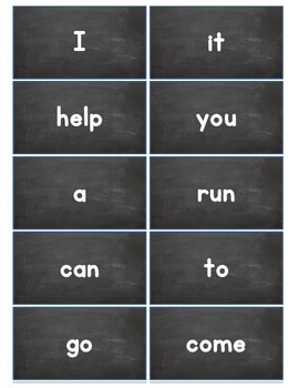 Dolch Words Flashcards:  Chalkboard 1