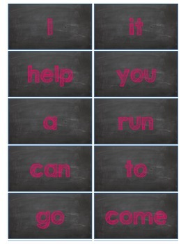 Dolch Words Flashcards:  Chalkboard - Pink Chalk
