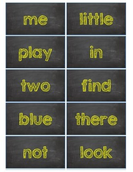 Dolch Words Flashcards:  Chalkboard - Yellow Chalk