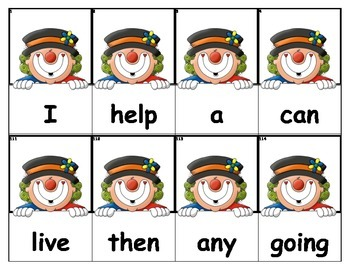 Dolch Words Flashcards - Clown