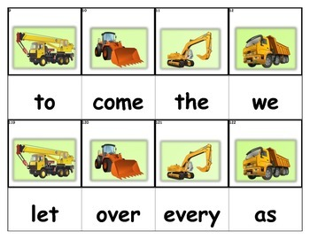 Dolch Words Flashcards - Construction