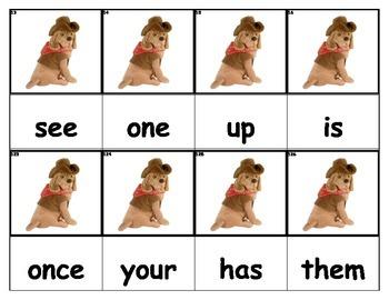 Dolch Words Flashcards - Dog Cowboy