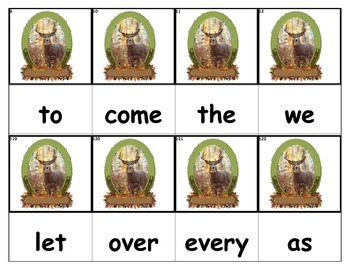 Dolch Words Flashcards - Deer Hunting