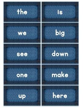 Dolch Words Flashcards: Denim