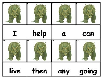 Dolch Words Flashcards - Dinosaur