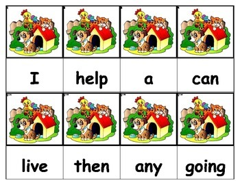 Dolch Words Flashcards - Dog House & Animals