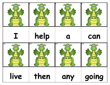 Dolch Words Flashcards - Dragon With Wings