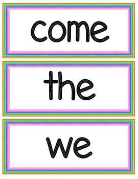 Dolch Word Wall Cards - Rainbow Border