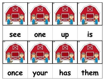 Dolch Words Flashcards - Farmers