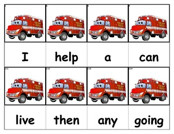 Dolch Words Flashcards - Firetruck