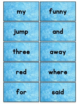 Dolch Words Flashcards: Frozen Background