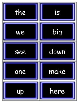 Dolch Words Flashcards: Neon Light - Blue