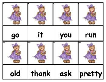 Dolch Words Flashcards - Bear Girl