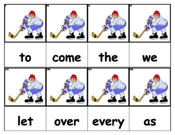 Dolch Words Flashcards - Hockey Player