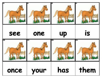 Dolch Words Flashcards - Horse