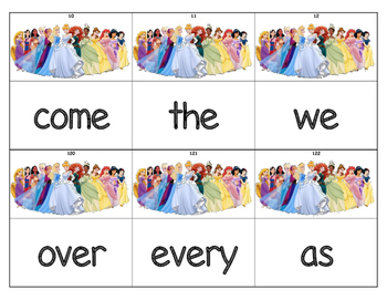 Dolch Words Flashcards (Large) - Princesses