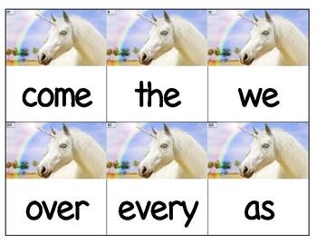 Dolch Words Flashcards (Large) - Unicorn Photo