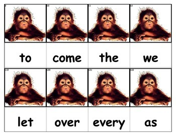 Dolch Words Flashcards - Monkey Baby