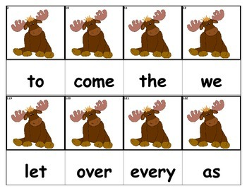 Dolch Words Flashcards - Moose