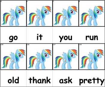 Dolch Words Flashcards - My Little Pony (Blue)
