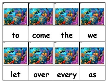 Dolch Words Flashcards - Ocean with Coral