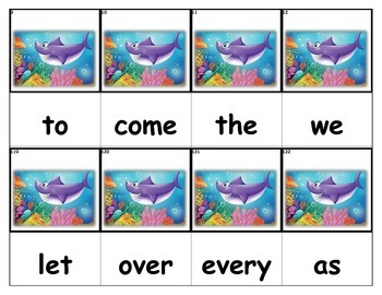 Dolch Words Flashcards - Ocean with Shark