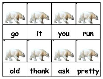 Dolch Words Flashcards - Bear (Polar)