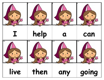 Dolch Words Flashcards - Princess Peek Over