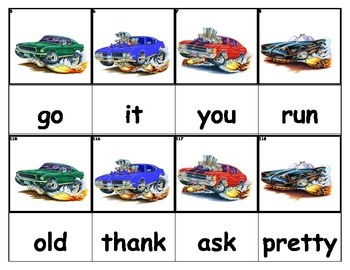 Dolch Words Flashcards - Racecars with Flames