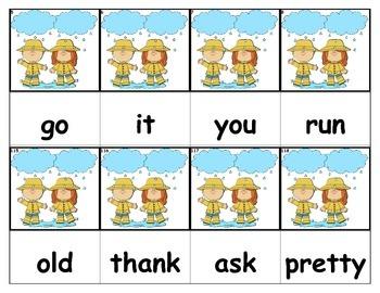 Dolch Words Flashcards - Rain (Boy & Girl)
