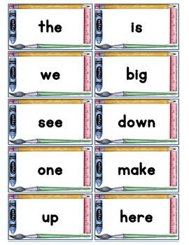 Dolch Words Flashcards: School Tool Border