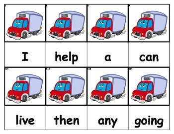 Dolch Words Flashcards - Semi-Truck