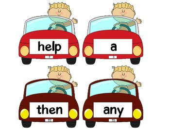 Dolch Words Flashcards Shapes - Boy Driving