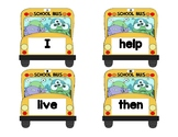 Dolch Words Flashcards Shapes - Monster School Bus