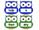 Dolch Words Flashcards Shapes - Owls