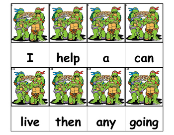 Dolch Words Flashcards - TMNT