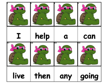 Dolch Words Flashcards - TMNT Girl