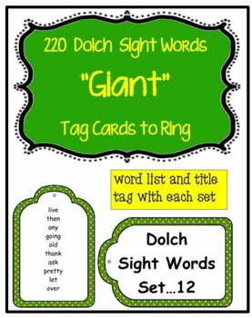 Dolch Words Ringed Cards: Tags GIANT ½ Page