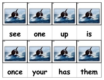 Dolch Words Flashcards - Orca Swimming